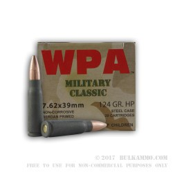 20 Rounds of 7.62x39mm Ammo by Wolf WPA MC - 124gr HP