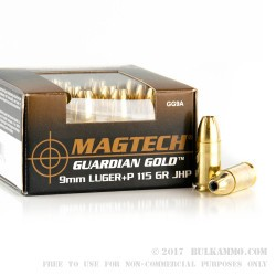 20 Rounds of +P 9mm Ammo by Magtech Guardian Gold - 115gr JHP