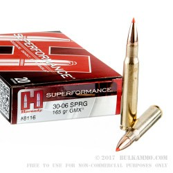20 Rounds of 30-06 Springfield Ammo by Hornady Superformance - 165gr GMX