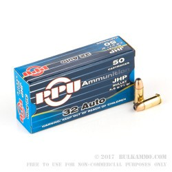 50 Rounds of .32 ACP Ammo by Prvi Partizan - 71gr JHP