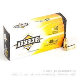 1000 Rounds of .40 S&W Ammo by Armscor - 180gr FMJ