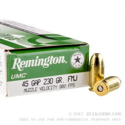 50 Rounds of .45 GAP Ammo by Remington - 230gr MC
