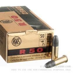50 Rounds of .22 LR Ammo by RWS R50 - 40gr LRN