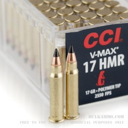 50 Rounds of .17HMR Ammo by CCI - 17gr V-Max