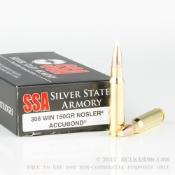 20 Rounds of .308 Win Ammo by Silver State Armory - 150gr JHP