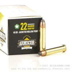 500  Rounds of .22 Magnum Ammo by Armscor - 40gr JHP
