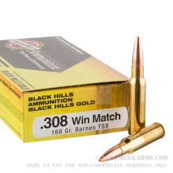 20 Rounds of .308 Win Ammo by Black Hills Gold Ammunition - 168gr TSX