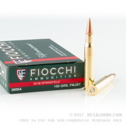 200 Rounds of 30-06 Springfield Ammo by Fiocchi - 150gr FMJ