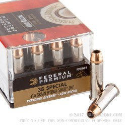 200 Rounds of .38 Spl Ammo by Federal Hydra-Shok Low Recoil - 110gr JHP