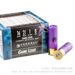 250 Rounds of 16ga Ammo by Federal Game Shok - 1 ounce #8 shot
