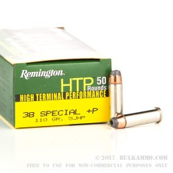 500  Rounds of .38 Spl +P Ammo by Remington - 110gr SJHP