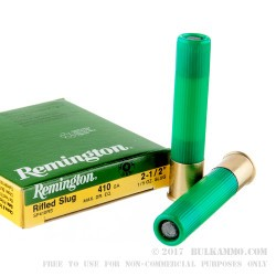 5 Rounds of .410 Ammo by Remington - 1/5 ounce Rifled Slug