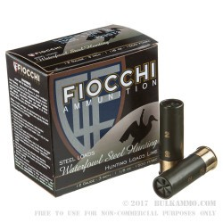 "25 Rounds of 12ga Ammo by Fiocchi - 3"" 1-1/8 ounce #2 Shot Speed Steel Shot"