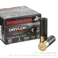 25 Rounds of 12ga Ammo by Winchester Winchester Drylok Super Steel Magnum - 1 3/8 ounce #4 shot