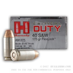 500  Rounds of .40 S&W Ammo by Hornady - 175gr JHP