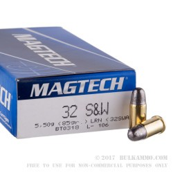 50 Rounds of .32S&W  Ammo by Magtech - 85gr LRN