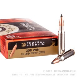 20 Rounds of .308 Win Ammo by Federal Premium Vital-Shok - 150gr Trophy Copper Polymer Tipped