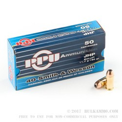 50 Rounds of .40 S&W Ammo by Prvi Partizan - 180gr JHP