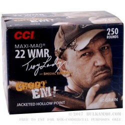 250 Rounds of .22 WMR Ammo by CCI - 40gr JHP