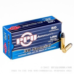 1000 Rounds of .38 Spl Ammo by Prvi Partizan - 158gr LRN