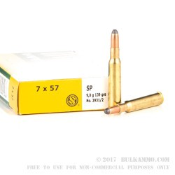 20 Rounds of 7x57mm Mauser Ammo by Sellier & Bellot - 139gr SP