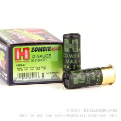 100 Rounds of 12ga Ammo by Hornady Zombie Max -  00 Buck Z-Max