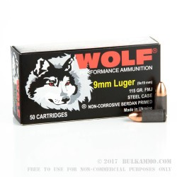 1000 Rounds of 9mm Ammo by Wolf - 115gr FMJ