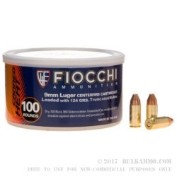 100 Rounds of 9mm Canned Heat Ammo by Fiocchi - 124gr FMJTC