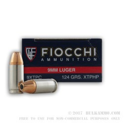 50 Rounds of 9mm Ammo by Fiocchi - 124gr JHP XTP