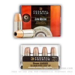 20 Rounds of 9mm Ammo by Federal - Hydra-Shok - 135gr JHP