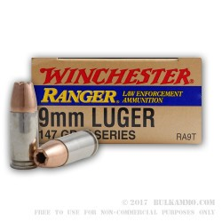 50 Rounds of 9mm Ammo by Winchester Ranger T-Series - 147gr JHP