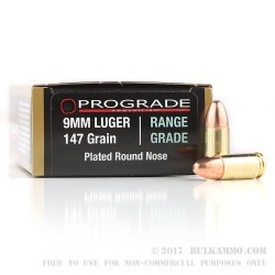 50 Rounds of 9mm Ammo by ProGrade Ammunition - 147gr CPRN
