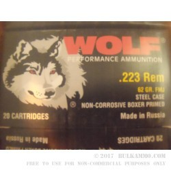 500  Rounds of .223 Ammo by Wolf - 62gr FMJ