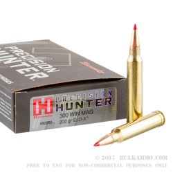 20 Rounds of .300 Win Mag Ammo by Hornady Precision Hunter - 200gr ELD-X