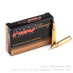 20 Rounds of .223 Ammo by PMC - 55gr FMJBT