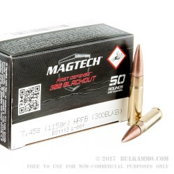 500  Rounds of .300 AAC Blackout Ammo by Magtech First Defense - 115gr Flat Base Hollow-Point (FBHP)