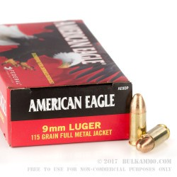 1000 Rounds of 9mm Ammo by Federal American Eagle - 115gr FMJ