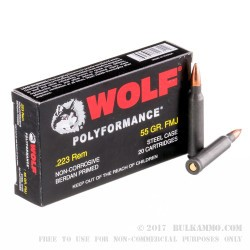 500 Rounds of .223 Ammo by Wolf - 55gr FMJ