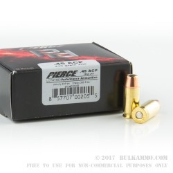 20 Rounds of .45 ACP Ammo by Pierce Performance Ammunition - 230gr JHP