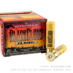 "25 Rounds of 20ga Ammo by Federal Blackcloud - 3"" 1 ounce #4 shot"
