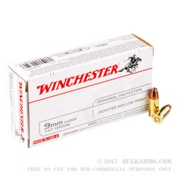50 Rounds of 9mm Ammo by Winchester - 147gr JHP