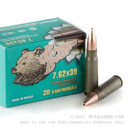 20 Rounds of 7.62x39mm Ammo by Brown Bear - 123gr HP