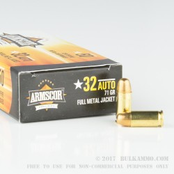 50 Rounds of .32 ACP Ammo by Armscor - 71gr FMJ