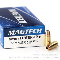 50 Rounds of 9mm Ammo by Magtech - 115gr +P+ JHP