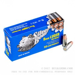 500  Rounds of 9mm Ammo by Silver Bear - 145gr HP