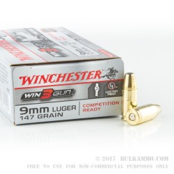 50 Rounds of 9mm Ammo by Winchester 3-Gun - 147gr BEB