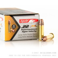 50 Rounds of .22 LR Ammo by Aguila - Hyper Velocity - 30gr CPHP