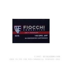 1000 Rounds of .357 Mag Ammo by Fiocchi - 148gr JHP