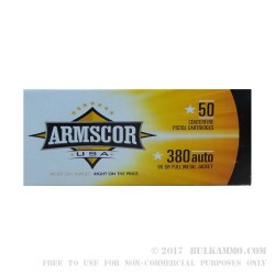 50 Rounds of .380 ACP Ammo by Armscor - 95gr FMJ