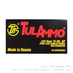 40 Rounds of .223 Ammo by Tula - 75gr HP